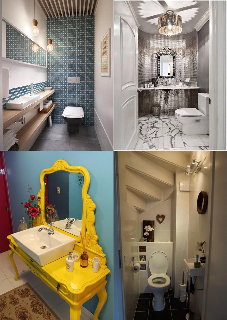 banheiros decorados pastilhas banheiro pequeno penteadeira
