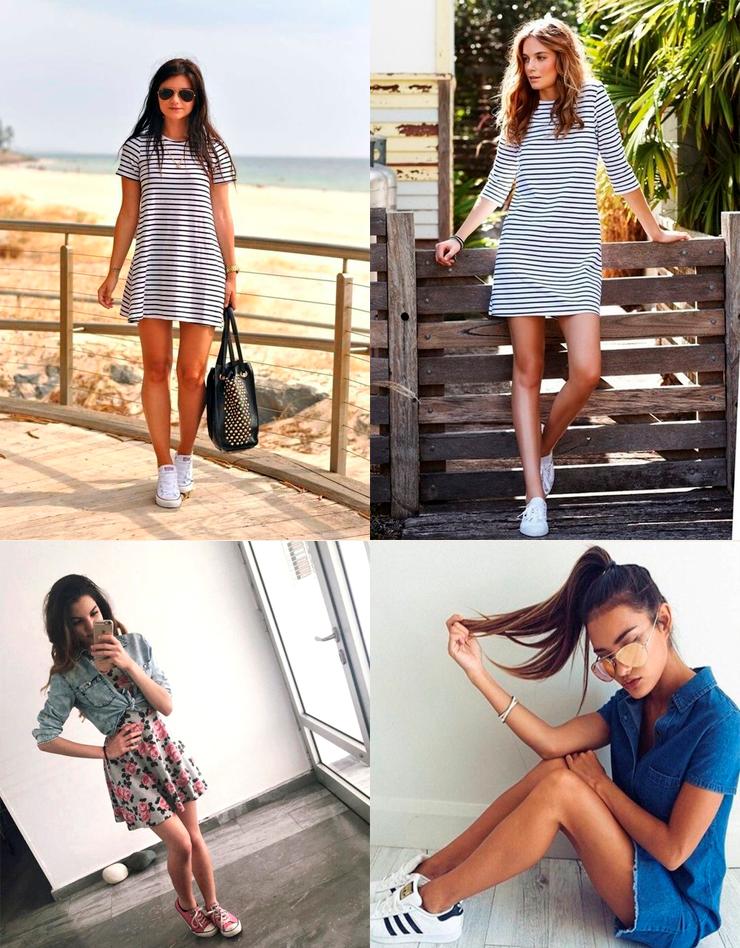 look vestido e tenis 2016