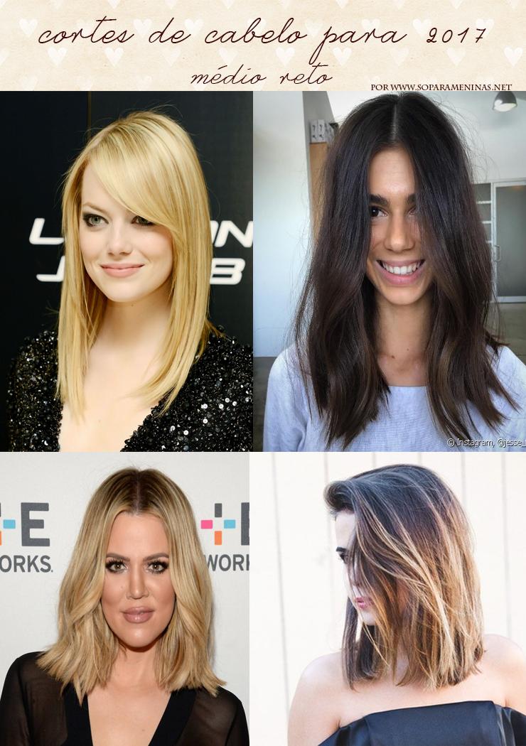 cortes de cabelo para 2017 médio reto