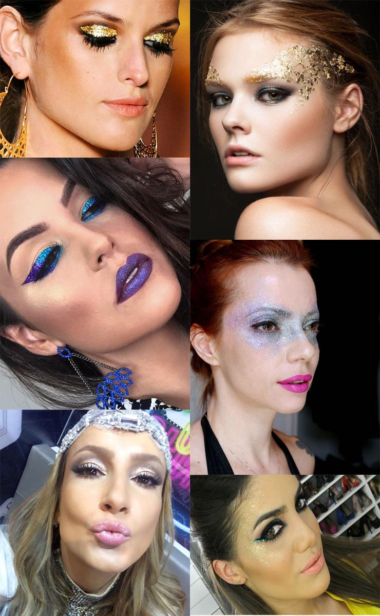maquiagem com glitter para o carnaval 2017