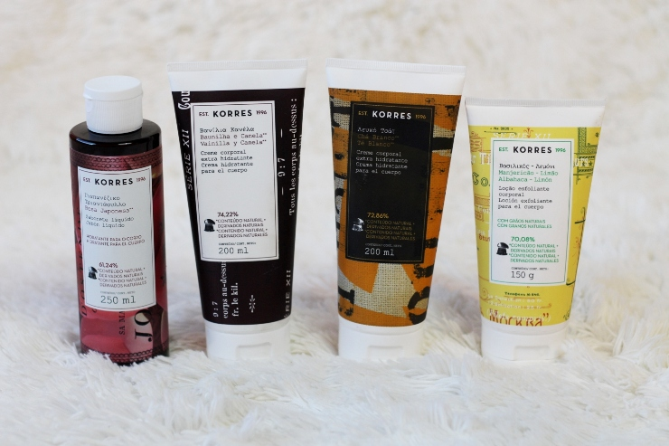 produtos corporais da Korres