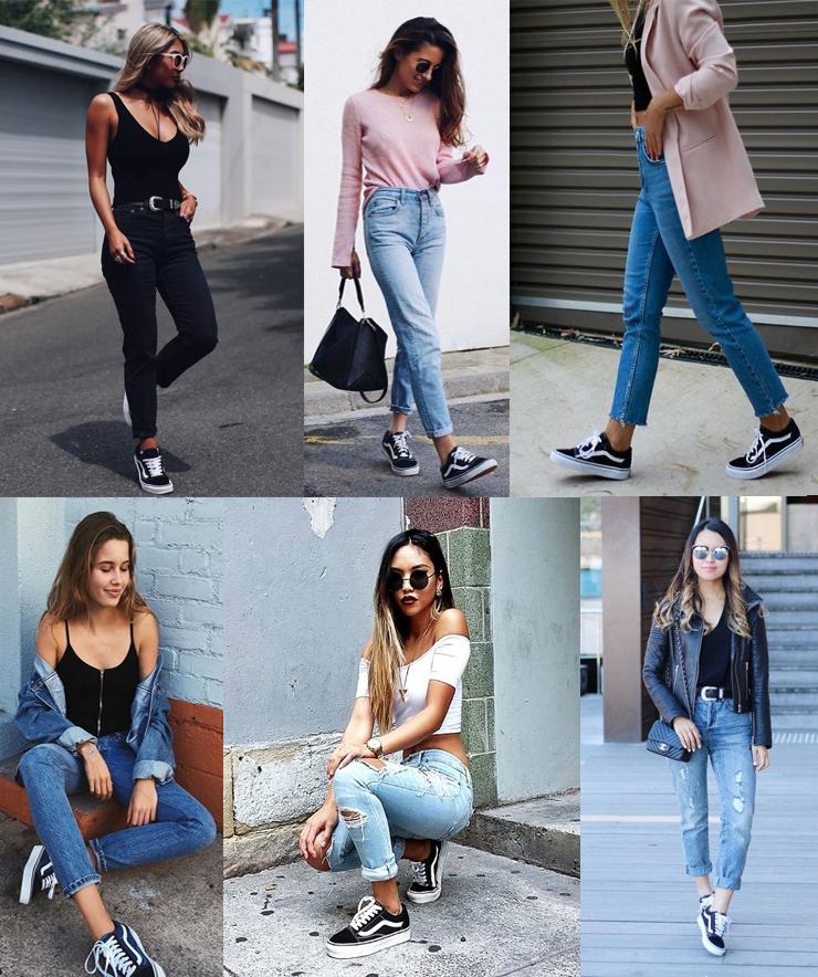 vans old skool looks calça jeans como usar