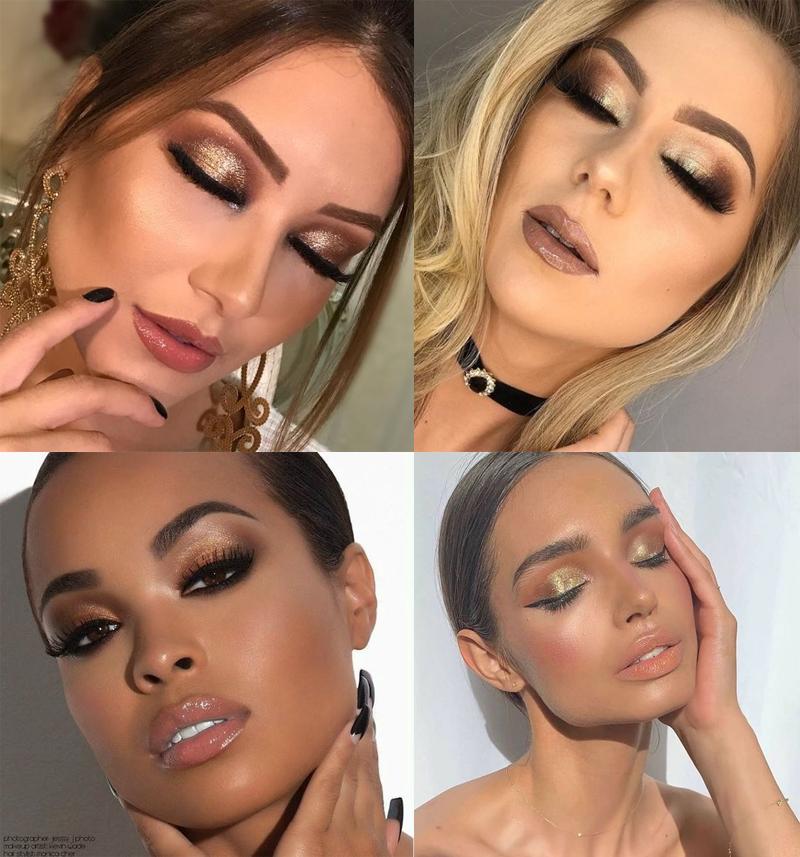 maquiagem para o natal 2019 sombra dourada
